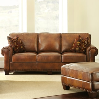 top grain leather sofa sale shop sanremo top grain leather sofa with two pillows by 8549