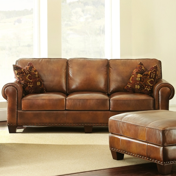 Pillows Leather Sofa: Shop Sanremo Top Grain Leather Sofa With Two Pillows By