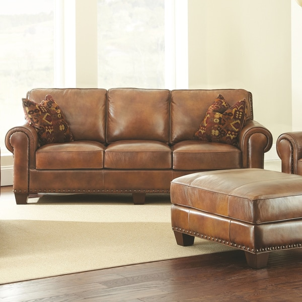 Great Sanremo Top Grain Leather Sofa With Two Pillows By Greyson Living