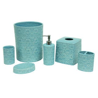 Bathroom accessory sets for less for Teal green bathroom accessories