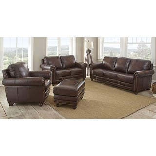 Edinburgh 4-Piece Top Grain Leather Living Room Set by Greyson Living