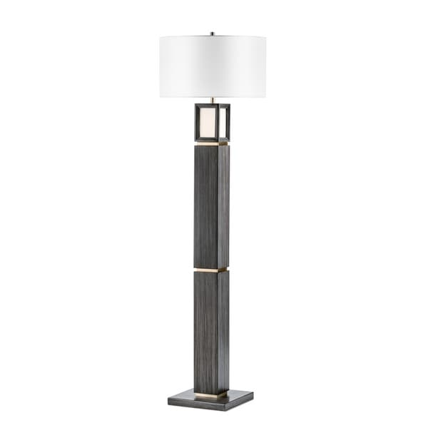 Woodbury Ash Grey Wood and Brushed Nickel Floor Lamp