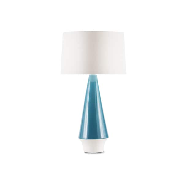 Mid Century White Linen Shade and Teal Ceramic Table Lamp