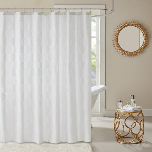 Madison Park Cabot Geometric Semi Sheer Jacquard Shower Curtain 3-Options Color