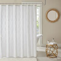 Madison Park Cabot Geometric Semi Sheer Jacquard Shower Curtain 3-Options Color
