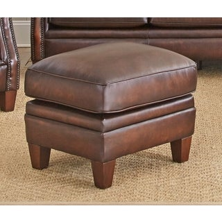 Lucca Top Grain Leather Ottoman by Greyson Living