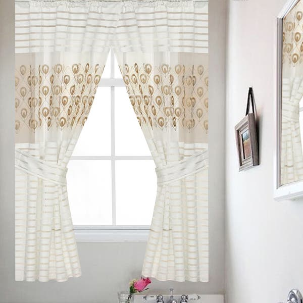 Seraphina Gold Medallion Embroidered 54 Inch Window Curtain Panel Pair 36x54