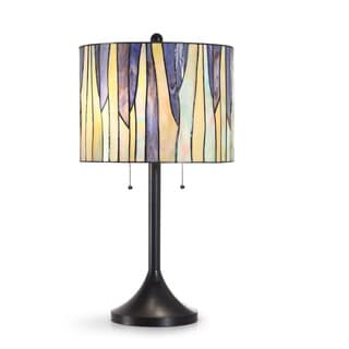 HomeTREND Barossa Purple Tiffany Glass and Oil-rubbed Bronze Metal Table Lamp