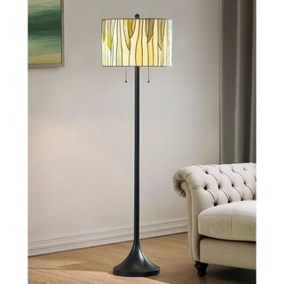 HomeTrend Barossa Oil-rubbed Bronze Metal Tiffany Floor Lamp with Green Glass Shade