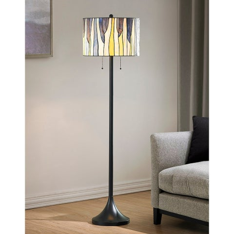 HomeTrend Barossa Tiffany Multicolored Art Glass/Metal Floor Lamp