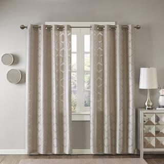 Madison Park Cabot Geo Semi Sheer Jacquard Window Curtain Panel|https://ak1.ostkcdn.com/images/products/14636999/P21176771.jpg?impolicy=medium
