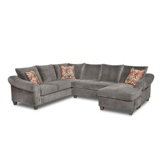 LYKE Home Charcoal Fabric Sectional Sofa