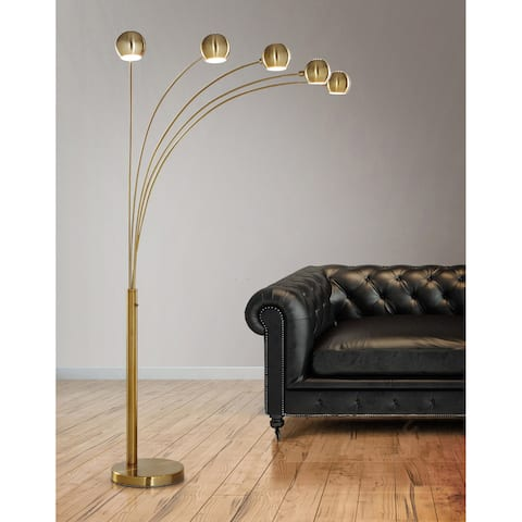 Orbs 5-light Dimmable Arch Floor Lamp - Antique Brass