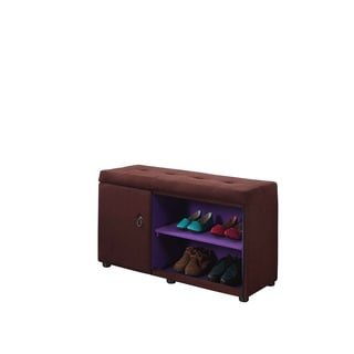 18-inch Upholstered Tufted Shoe Compartment Storage Bench
