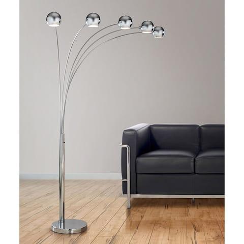 Orbs 5-light Dimmable Arch Floor Lamp - Chrome