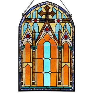 Roman-style Stained Glass Cathedral 32-inch Window Panel - L|https://ak1.ostkcdn.com/images/products/14637196/P21177207.jpg?impolicy=medium