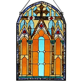 Roman-style Stained Glass Cathedral 32-inch Window Panel - L