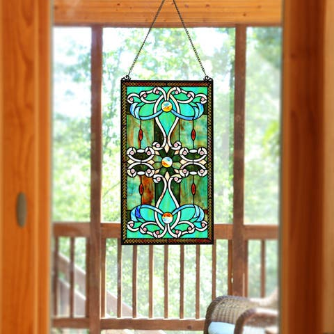 "River of Goods Brandi's Tiffany Style Stained Glass Green 26-inch Window Panel - 15""L x 0.25""W x 26""H"