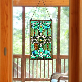 """River of Goods Brandi's Tiffany Style Stained Glass Green 26-inch Window Panel - 15""""L x 0.25""""W x 26""""H"""