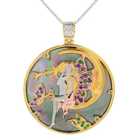 Michael Valitutti Palladium Silver Round Mother-of-Pearl & Multi Gemstone Fairy Pendant