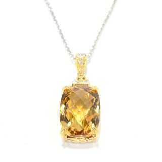 Michael Valitutti Palladium Silver Checkerboard Cut Brazilian Canary Citrine Pendant