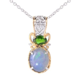 Michael Valitutti Palladium Silver Oval Ethiopian Opal & Chrome Diopside Pendant