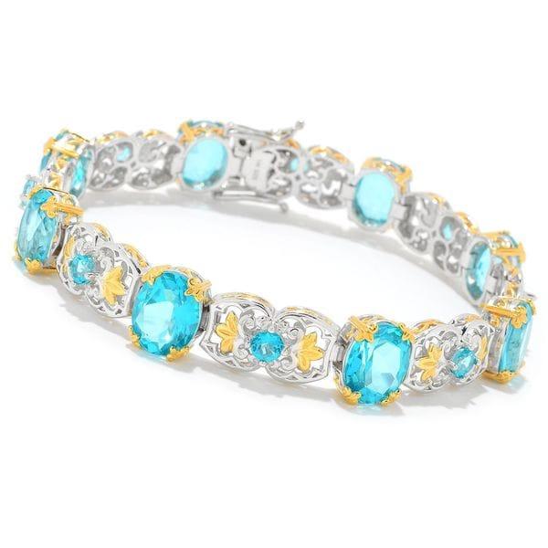 Michael Valitutti Palladium Silver Choice of Length Paraiba Color Topaz Alternating Link Bracelet