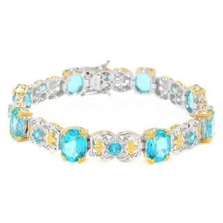 Michael Valitutti Palladium Silver Choice of Length Paraiba Color Topaz Alternating Link Bracelet
