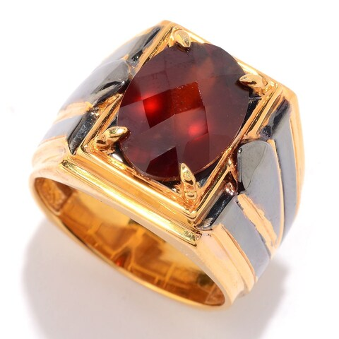 Michael Valitutti Palladium Silver Checkerboard Cut Tanzanian Hessonite Garnet Men's Ring