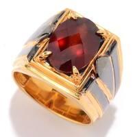 Michael Valitutti Palladium Silver Checkerboard Cut Tanzanian Hessonite Garnet Men's Ring