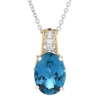 Michael Valitutti Palladium Silver London Blue Topaz & White Zircon Pendant