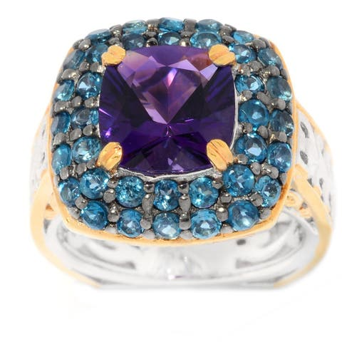 Gems en Vogue Palladium Silver Congo Amethyst & London Blue Topaz Double Halo Ring