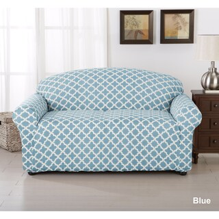 Brenna Collection Trellis Print Stretch Form-Fitted Loveseat Slip Cover (4 options available)