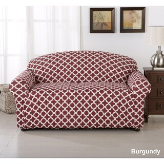 Brenna Collection Trellis Print Stretch Form-Fitted Loveseat Slip Cover (Option: Burgundy)