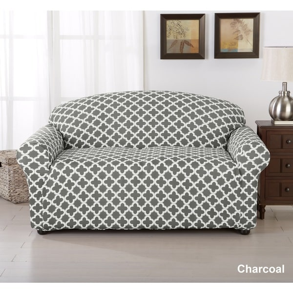Fine Brenna Collection Trellis Print Stretch Form Fitted Loveseat Slip Cover Unemploymentrelief Wooden Chair Designs For Living Room Unemploymentrelieforg
