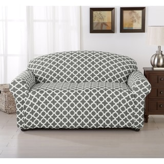 Brenna Collection Trellis Print Stretch Form-Fitted Loveseat Slip Cover