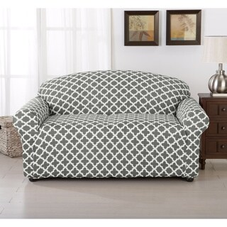 Brenna Collection Trellis Print Stretch Form-Fitted Loveseat Slip Cover (Option: Blue)
