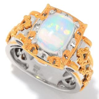 Michael Valitutti Palladium Silver Ethiopian Opal, Madeira Citrine & Chrome Diopside Scrollwork Ring