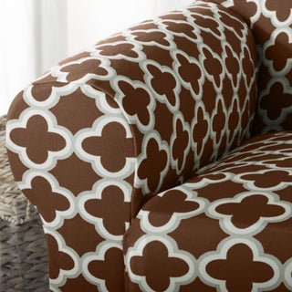 Brenna Collection Trellis Print Stretch Form-Fitted Sofa Slip Cover (4 options available)
