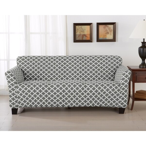 Attractive Home Fashion Designs Brenna Collection Trellis Print Stretch Form Fitted  Sofa Slipcover
