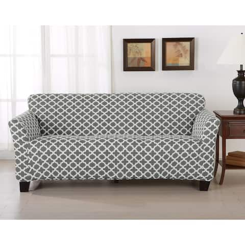 Brenna Collection Trellis Print Stretch Form-Fitted Sofa Slip Cover in Charcoal (As Is Item)