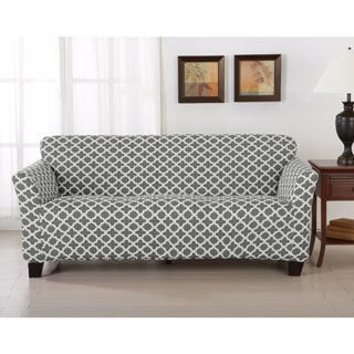 Brenna Collection Trellis Print Stretch Form-Fitted Sofa Slip Cover