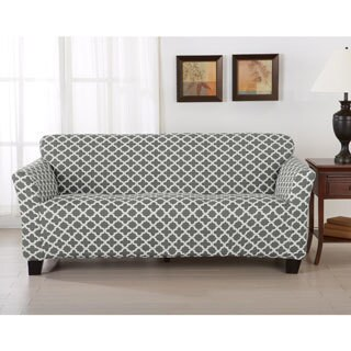 Brenna Collection Trellis Print Stretch Form-Fitted Sofa Slip Cover (Option: Blue)
