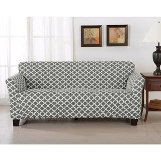 Home Fashion Designs Brenna Collection Trellis Print Stretch Form-Fitted Sofa Slipcover