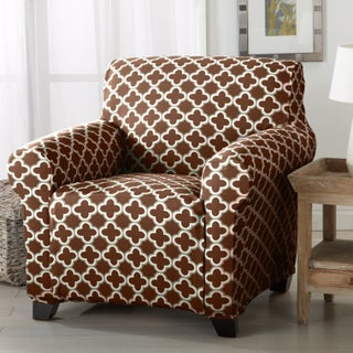Home Fashion Designs Brenna Collection Trellis Print Stretch Form-Fitted Chair Slipcover (Option: Chocolate)