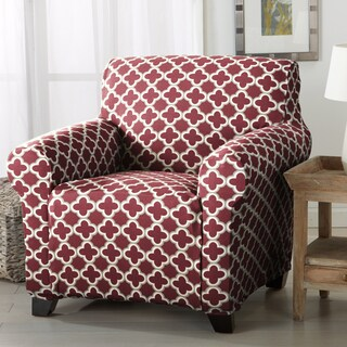 Brenna Collection Trellis Print Stretch Form-fitted Chair Slipcover (Option: Burgundy)
