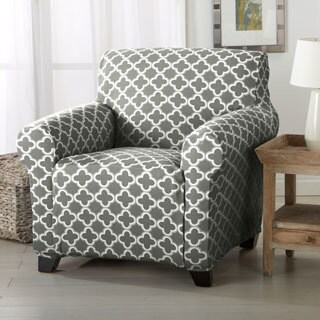 Brenna Collection Trellis Print Stretch Form-fitted Chair Slipcover (Option: Blue)