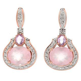 Michael Valitutti Palladium Silver Rose Quartz & Pink Sapphire Drop Earrings