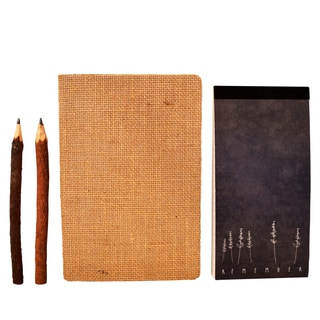 Root and Seed Hessian 80 Page Notebook, 'Don't Let Me Forget' Notepad, 2 Twig Pencils Writing Journal Gift Set