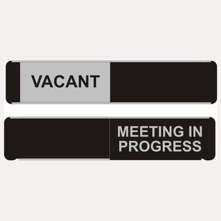 Sliding Aluminum 10-inch x 2-inch 'Vacant/Meeting in Progress' Sign
